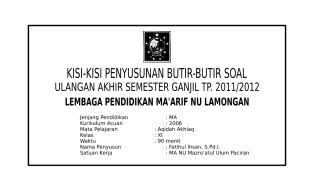KISI-KISI SOAL KLS XI AA-1.doc
